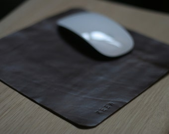 """MousePad - Personalized genuine Leather - monogram of """"your name"""" -- made from upcycled genuine leather"""