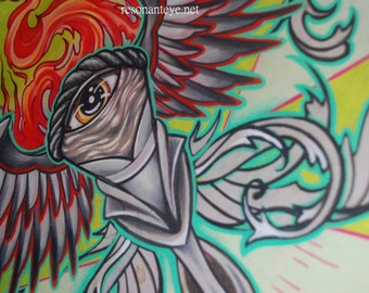 tattoo torch painting,bright green glowing torch with all-seeing eye and flourishes, winged torch