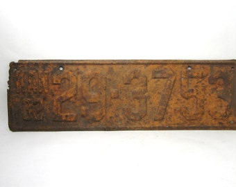 Vintage  Kansas Metal License Plate Rusted and Naturally Distressed 1932