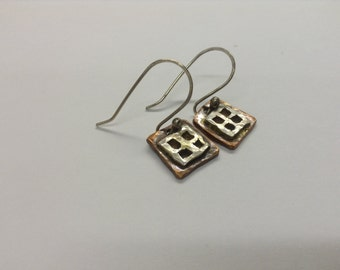 Copper and Sterling Silver Window Pane Earrings
