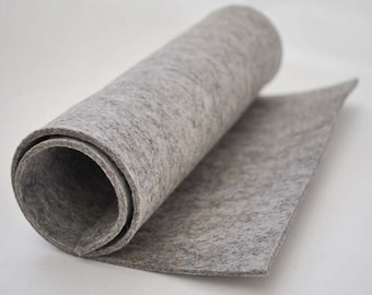 Thick Wool Felt, 3mm, 100% wool (30x50cm) - Blueben Light Grey