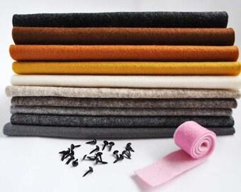 Merino Wool Felt Sheets - 10 pieces - 'Furry Friends' felties kit
