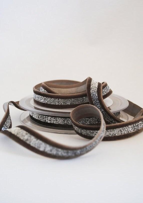 Mink velvet ribbon with silver lurex stripe - 1m (1.1 yards)