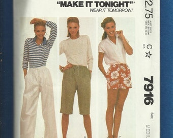 Vintage 1982 McCalls 7916 Super Casual Baggy Pants Capri & Shorts with Drawstring Waist Size Medium 14/16 UNCUT