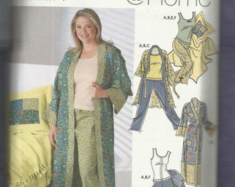 Simplicity 5361 Summer Time Pajamas Robe and Pillow Cover with Blanket Set Sizes XXS to L UNCUT
