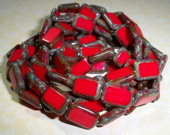 Red Rectangle Bead 12x8mm Czech Glass Picasso BRICK (10)