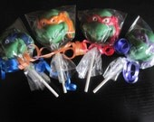 12 Teenage Mutant Ninja Turtles (TMNT) Inspired lollipop favors (One Dozen)