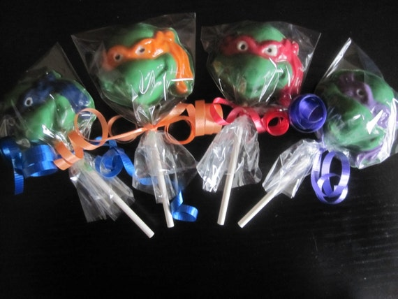 12 Teenage Mutant Ninja Turtles (TMNT) Inspired lollipop favors (One Dozen)