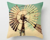 Decorative Throw Pillow Cover Windmill Aqua Teal Turquoise Cream Country Rustic Farmhouse Cottage Decor Photo Case Home Bedroom Couch Sofa