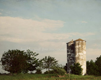 Rustic White Silo Picture, Farm Photography, Neutral Country Photo, Farmhouse Fixer Upper Style Print, Home Decor Wall Art