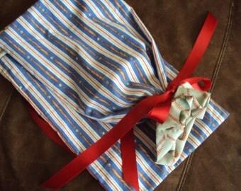 Baseball shoe bag, lingerie bag, baseball bats and balls-- eco friendly gift bag--set of two