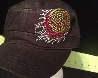 Flaming Softball Rhinestone Embellished Military Style Cotton Hat