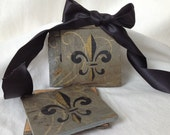 Fleur de lis Coasters New Orleans Recycled Roofing Slate Gold and Black