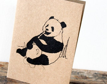Panda with balloon card - Black gocco screen-printed on brown recycled  kraft card