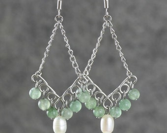 Green Jade white pearl dangling chandelier Earrings bridesmaids gifts Free US Shipping handmade Anni designs