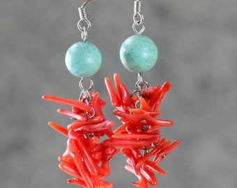 Chandelier turquoise coral long dangle fashion earrings Bridesmaids gifts Free US Shipping handmade Anni Designs