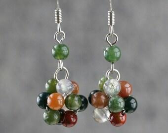 Fancy Agate stone drop earrings Free US Shipping handmade Anni Designs