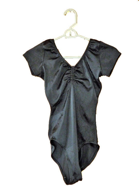 1980s dance costume LEOTARD size small / medium in jet black last chance offer