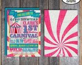 Carnival Invitation | Circus Invitation | Girl Carnival Invitation | Carnival Party Invitation | Pink Blue | Address Labels | Printable