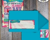Carnival Invitation - Circus Invitation - Carnival Invite - Birthday Invitation - Wrap Around Address Labels - Pink Blue Yellow - Printable