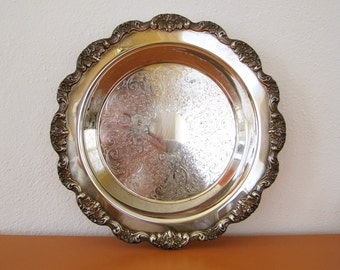 Large Vintage Poole Silver Plate Footed Serving Tray, Bar Tray