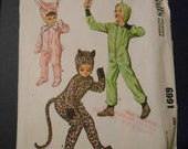 McCalls 6991,   Costumes with feet, bunny, leopard, alien, kids size 8