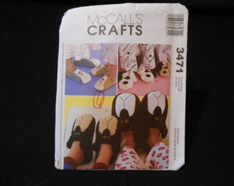 McCalls 3471, slippers, bear, dog, cat, sm to lg