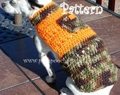 Instant Download Crochet pattern - Camo Summer Dog Sweater Small Dog Sweater 2-15 lbs