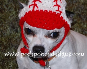 Instant Download Crochet Pattern - Baseball Dog Hat - Dog Beanie for Small Dogs