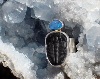 Trilobite with Black Opal and Sterling Silver Ring