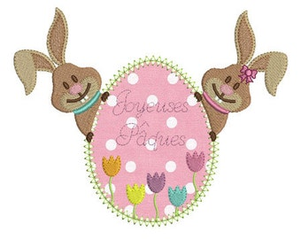 Embroidery design machine applique Easter bunny eggs instant download