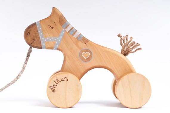 Personalized Wooden Toy, eco-friendly kids toy a Blue Horse