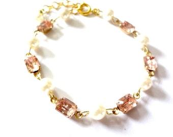 Vintage Pink Rhinestone Bracelet with Cream Pearls