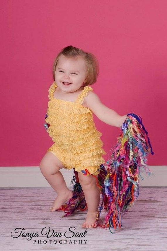 CLEARANCE Lace romper - SUNSHINE YELLOW - Photography Prop - With Or Without Straps