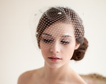 Birdcage Veil, Dotted Birdcage Veil, Blusher Veil, Mini Birdcage Veil, Wedding Veil, Polka Dot Veil - Marilyn  MADE TO ORDER