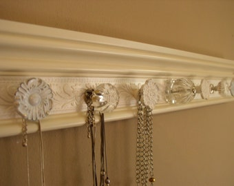 """necklace organizer This Shabby chic jewelry holder  total 7 decorative knobs on off white w/ embossed shimmery background 20 """""""