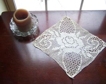 Vintage square table doily, Ivory table runner, White crocheted flowered doily....