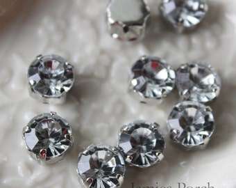 30pcs 10mm Nickel Free Faceted Round Cut Rhinestone With Rhodium Plated Metal cap for Jewelry, Accessory and Garment