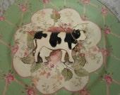Vintage Dairy Jersey Milk Cow Enamel Brooch with Bell