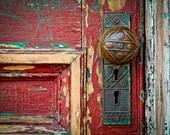 Red Door Maroon Burgundy Doorknob Urban Decay Weathered Rustic Door Photography Vintage Antique Door Red  Fine Art Print