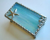 Stained Glass Jewelry Box|Stained Glass|Starfish|Seahorse|Beach|Ocean|Turquoise|Iridescent|Jewelry|Jewelry Storage|Handcrafted|Made in USA