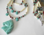 RESERVED for DR ONLY - Native American Inspired Large Turquoise Horse Head Totem Multi-Strand Necklace