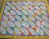 Pastel baby quilt, modern, baby boy, baby girl