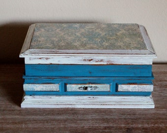 SALE 15% OFF  Shabby Chic French Gray Blue Vintage Jewelry Box Chest