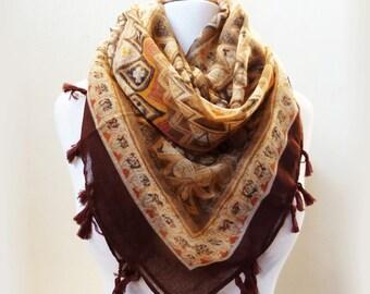 Womens MULTICOLOR III scarf with tassel fringe - shawl neckwarmer