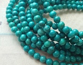 4 mm Blue Green Grade B-C Natural Turquoise Beads (.mu)