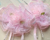 6 cm (2-3/8 inches) Light Pink Organza Satin Puff Flowers with Ribbon Bow and Beads (.su).