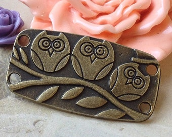 35 mm x 19 mm  Antique Bronze Cute Owl on the Branch Charms Pendants (.au)