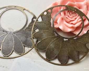 55 mm Antiqued Bronze Base Connectors / Earring Sets (.nm)
