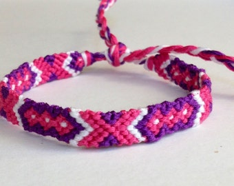 Pink, Purple & White Arrows - Friendship Bracelet